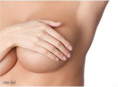 Woman cover her breasts with her hand